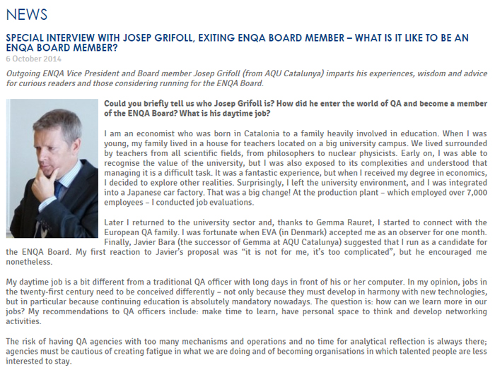Special Interview with Josep Grifoll, exiting ENQA Board Member